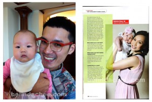 With StevenSunny (Baby Whisperer) the makeup artist working on the shoot that day. He was the only one who could make her smile and was comfortable enough to let him carry her. The article on the right.