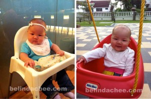 First time on a high chair and very amused to be able to sit on a swing!