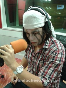 Vince all made up as Tonto, to promote the launch of Lone Ranger